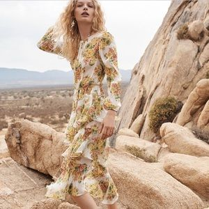 Like new zimmermann golden floral tier dress